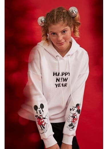DeFacto Mickey Mouse Baskılı Kapüşonlu Lisanslı Sweatshirt Beyaz